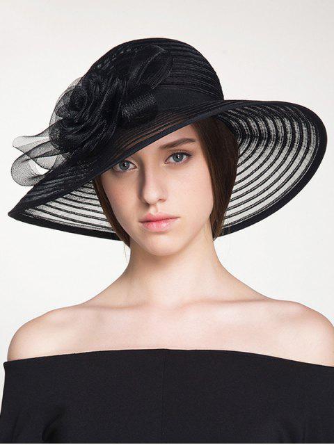 shops Ribbon Striped Organza Rose Sun Hat - BLACK  Mobile