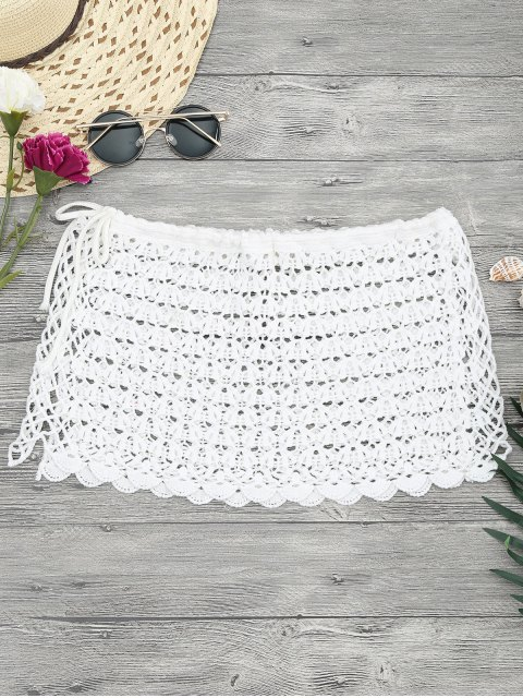 Crochet Mini Beach Cover Up Jupe - Blanc TAILLE MOYENNE Mobile