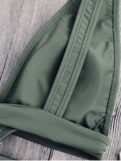 fashion Cut Out Plunging Neck Bandage Swimwear - SAGE GREEN L Mobile