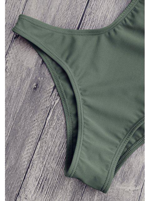 Maillot de bain bandage col plongeant avec découpes - Vert Cendré M Mobile