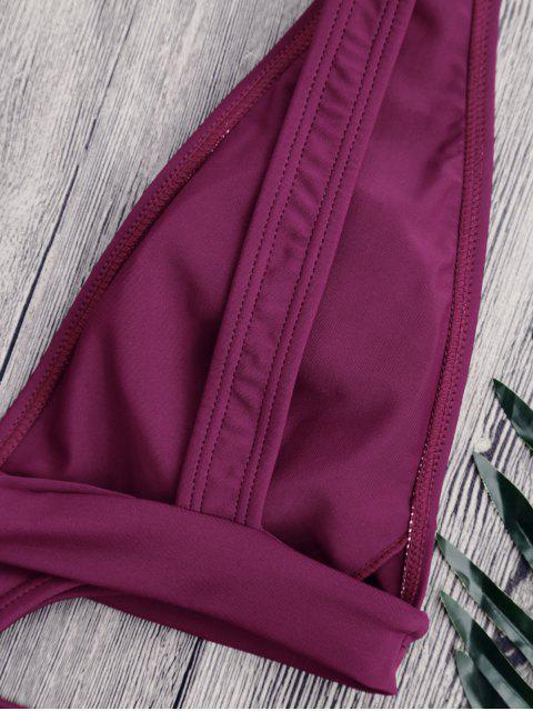 shops Cut Out Plunging Neck Bandage Swimwear - PURPLISH RED L Mobile