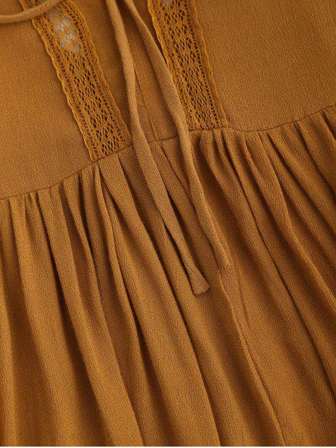 outfit Plunge Low Back Lace Up Sundress - LIGHT BROWN S Mobile