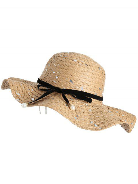 sale Detachable Ribbon Bowknot Sequin Straw Hat - COFFEE  Mobile