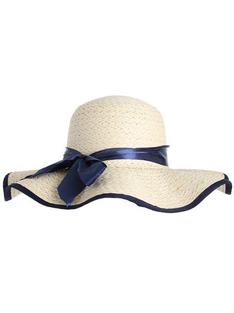 shop Woven Wide Brim Ribbon Bowknot Straw Hat - IVORY  Mobile
