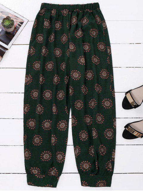 fashion Print Harem Holiday Pants - BLACKISH GREEN ONE SIZE Mobile