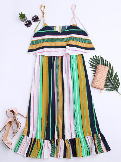 Slip Stripes Ruffles Casual Dress - Stripe S
