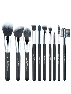 10Pcs Portable Nylon Beauty Makeup Brushes Set - Black