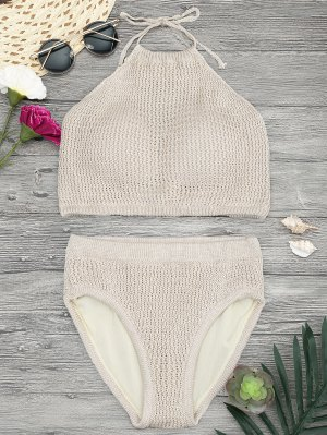 Padded High Neck Crochet Bikini Set - Khaki