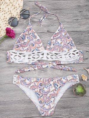 Midi Top Et Culotte De  Bikini  Imprimé En Motif Floral - Blanc S