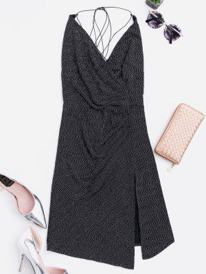 Criss Cross Skiny Club Dress - Black M