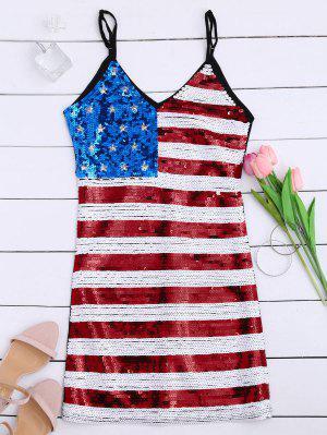 Robe Patriotique De Soirée Imprimée Drapeau Américain Avec Paillette - Noir