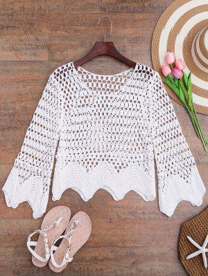 Corte A La Cremallera Hem Crochet Laser Cut Up - Blanco