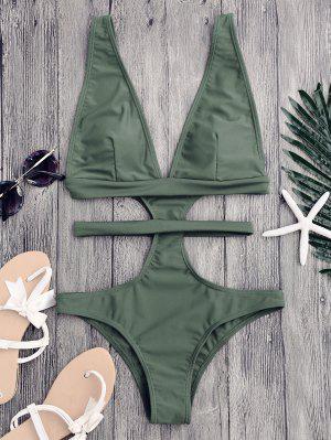 Cut Out Plunging Neck Bandage Swimwear - Sage Green M