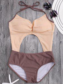 Cut Out Color Block Ruched Swimwear - Pinkbeige M