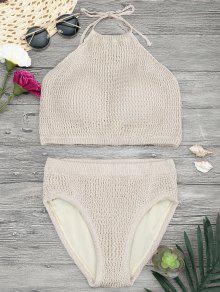 Padded High Neck Crochet Bikini Set - Khaki