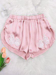 Applique Satin Dolphin Sleep Shorts - Pink L