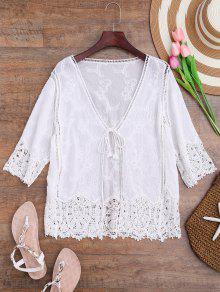 Crochet Panel Bohemian Front Tie Cover Up - Blanco