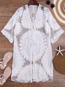 Crochet Flower Kimono Longline Cover Up - White