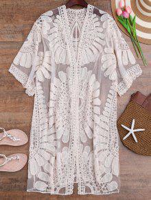 Crochet Flower Kimono Longline Cover Up - Off-white
