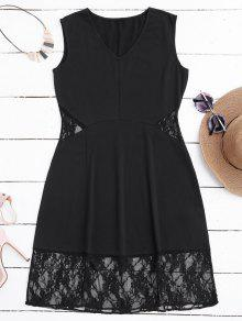 V Neck Lace Panel Casual Dress - Black L