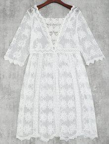 Crochet Lace Beach Cover Up Dress - White