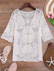 Kimono De Flores De Crochet Sheer - Blancuzco