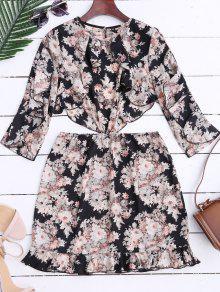 Robe Mini Florale à Volants Avec Découpes Hautes - Floral S