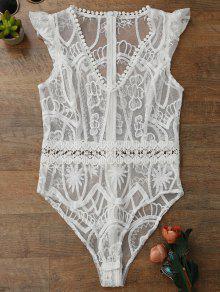 Sheer Lace Lingeries Teddy Bodysuit - White M