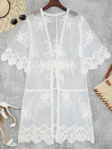 Sheer Tulle Beach Kimono Cover Up - White