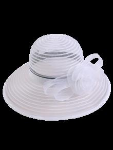 Sombrero De Sol De Organza De Rayas Con Rosa De Cinta Ancha - Blanco