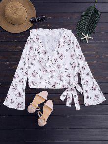 Floral Chiffon Wrap Blouse - Floral S
