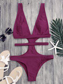 Cut Out Plunging Neck Bandage Swimwear - Purplish Red S