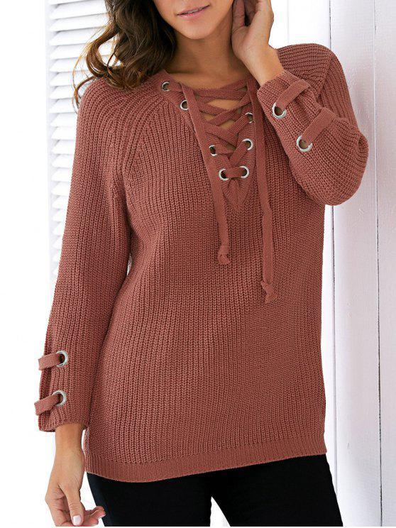 Lace Up V Neck Sweater cor sólida - Jacinto Tamanho único