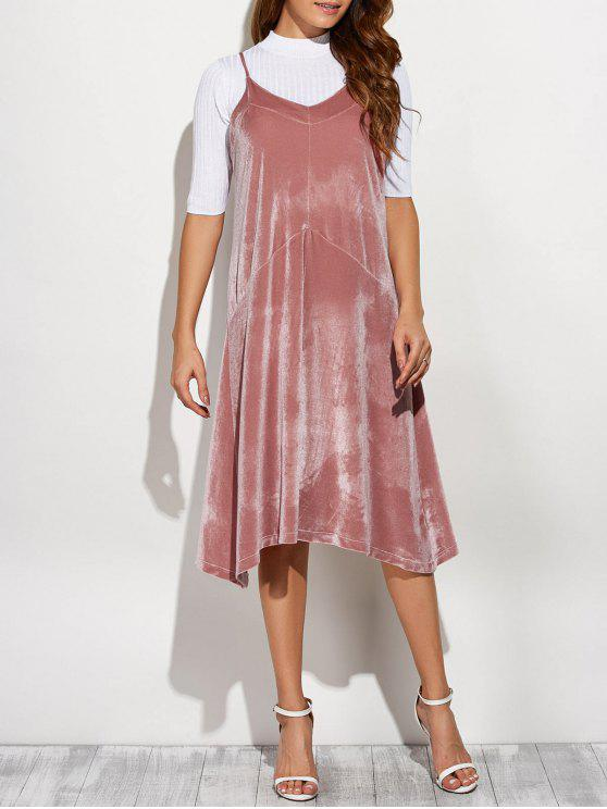 women Loose Velvet Midi Dress - PINK ONE SIZE