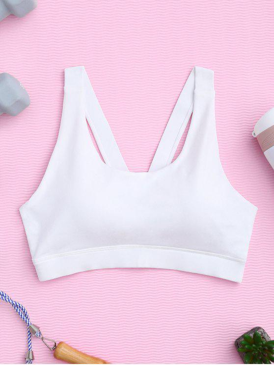 sale Pullover Sport Bra Sweat Top - WHITE M