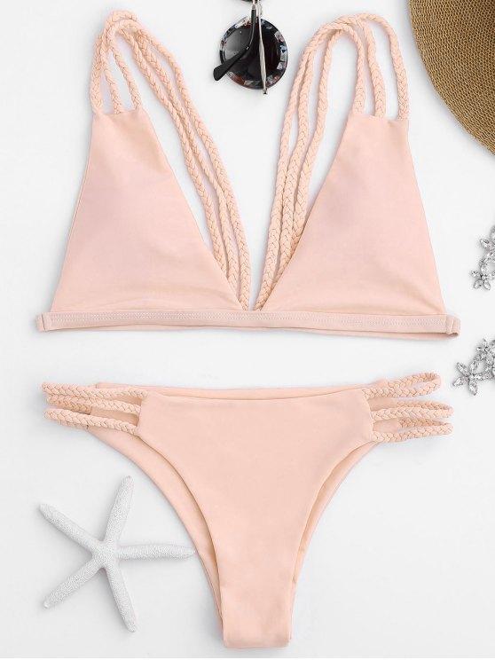 Bikini Bralette Con Lacci A Taglio Basso - Rosa S