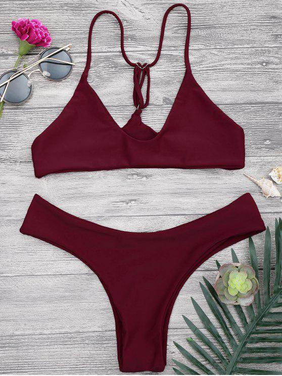 eaa3c30f73001 16% OFF] 2019 Spaghetti Strap Thong Bikini Set In BURGUNDY | ZAFUL