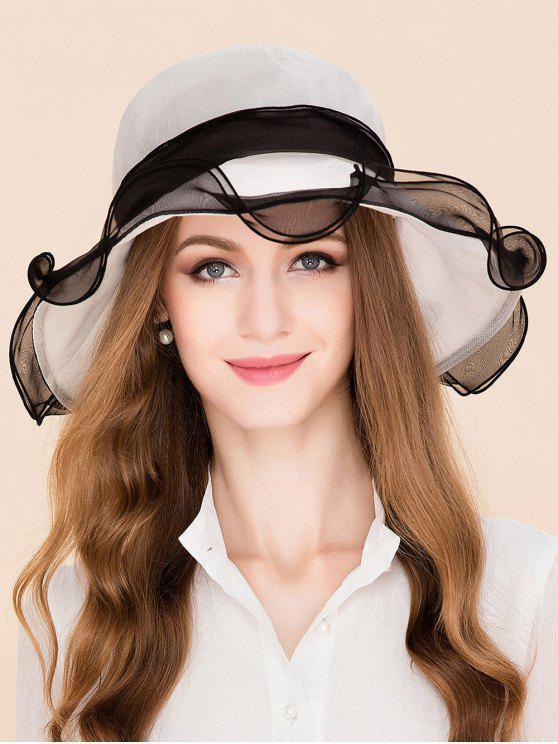 Sombrero de Sol de Seda de Morera con Cordones de Lazo Transpirable - Blanco