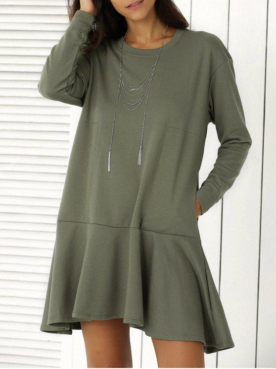 lady Solid Color Ruffle Hem Sweatshirt Dress - ARMY GREEN L