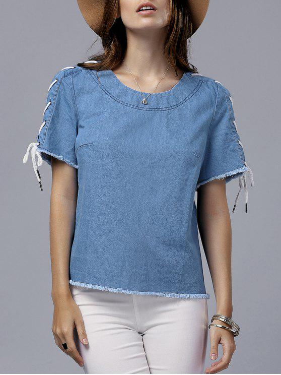 chic Vintage Lace-Up Round Neck Short Sleeve T-Shirt - BLUE S