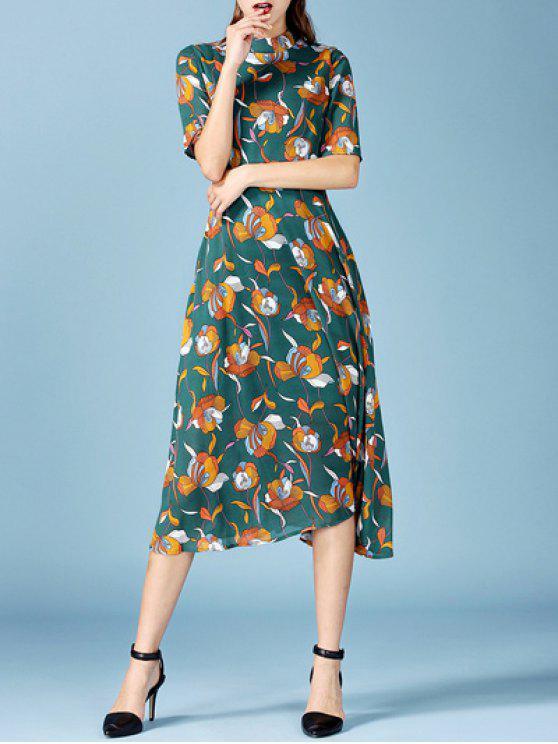 chic Printed Chiffon Midi Dress - BLACKISH GREEN L