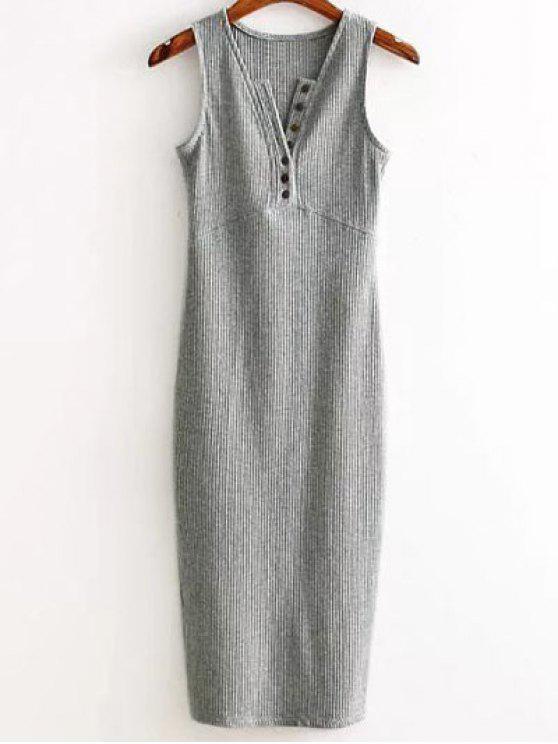 Vestido Acanalado con Abertura Lateral - Gris Claro Única Talla