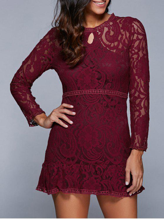 affordable A-Line See-Through Dress - WINE RED M