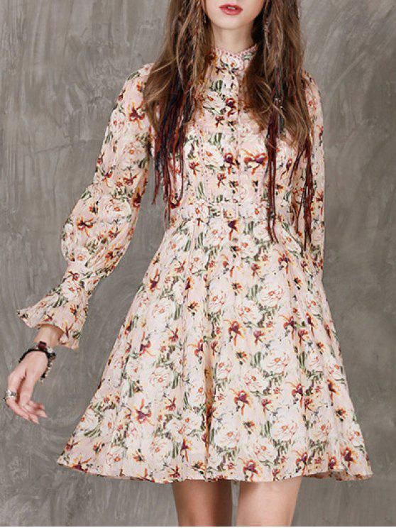 best Long Sleeves Floral Dress - FLORAL L