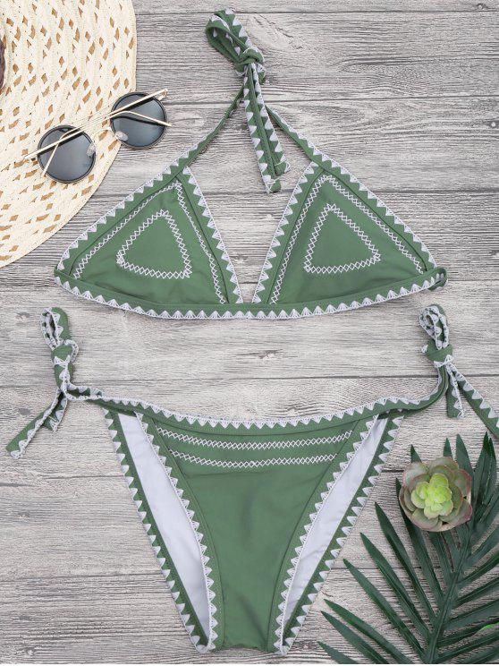 buy Halterneck Crochet String Bikini Set - GREEN M