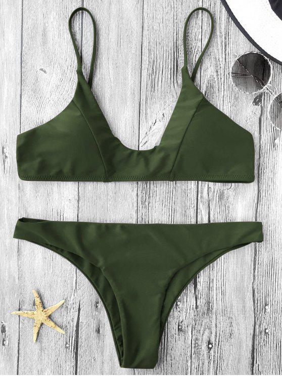 Bikini paddé à bretelles spaghetti - Vert Armée S