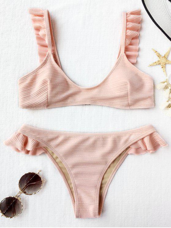 64d06db9d2dc86 40% OFF  2019 Ribbed Texture Ruffles Bikini Set In SHALLOW PINK