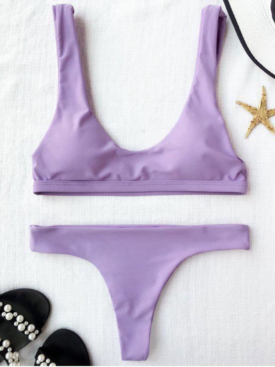 Bikini matelassé en mousseline de soie  à col en U - Violet Clair S