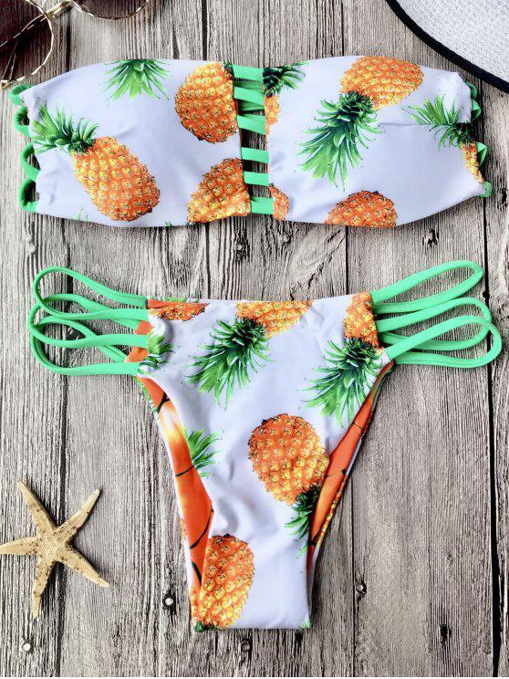 Ensemble de bikini bandeau à ananas réversible - Blanc S