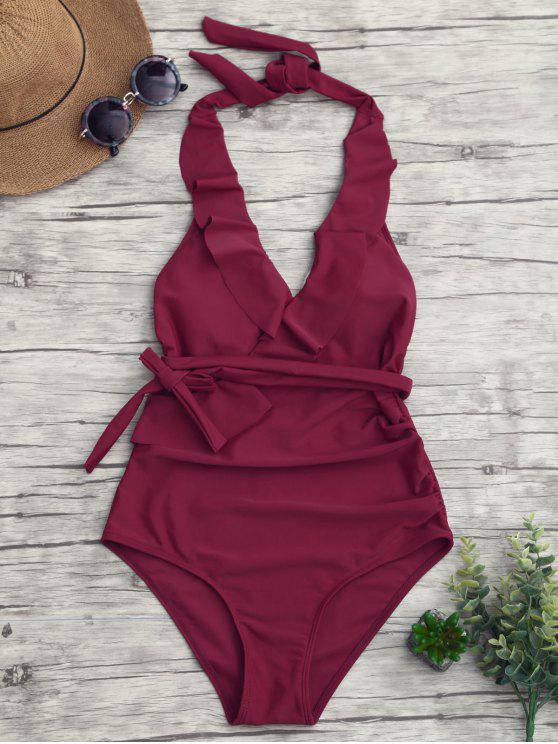 new Halterneck Ruffle Ruched One Piece Swimsuit - BURGUNDY L
